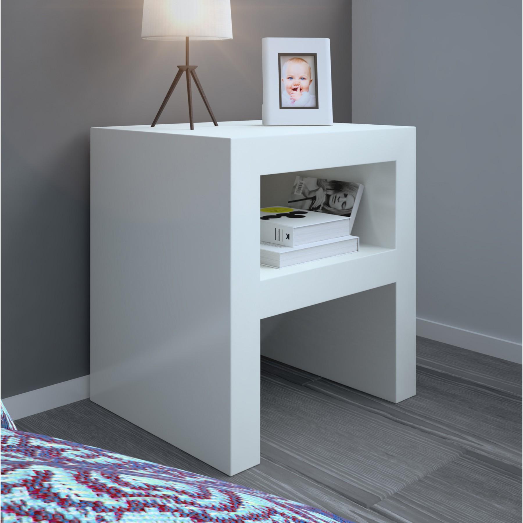 Mesa de noche minimalista moderna lacada blanca de dise o - Mesitas de noche blancas conforama ...