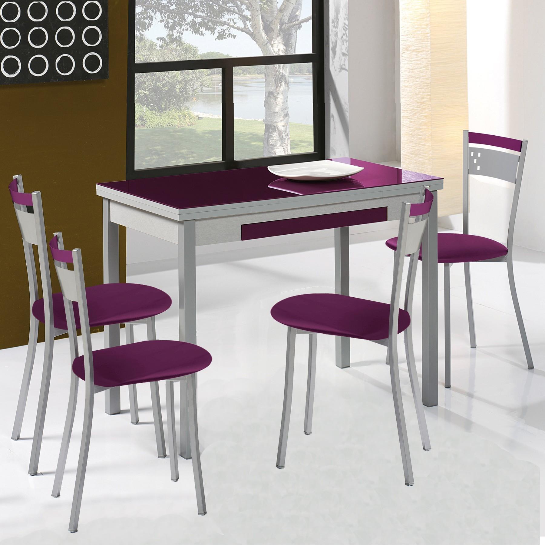 Pack mesa de cocina extensible y 4 sillas mod a - Mesas para cocina extensibles ...