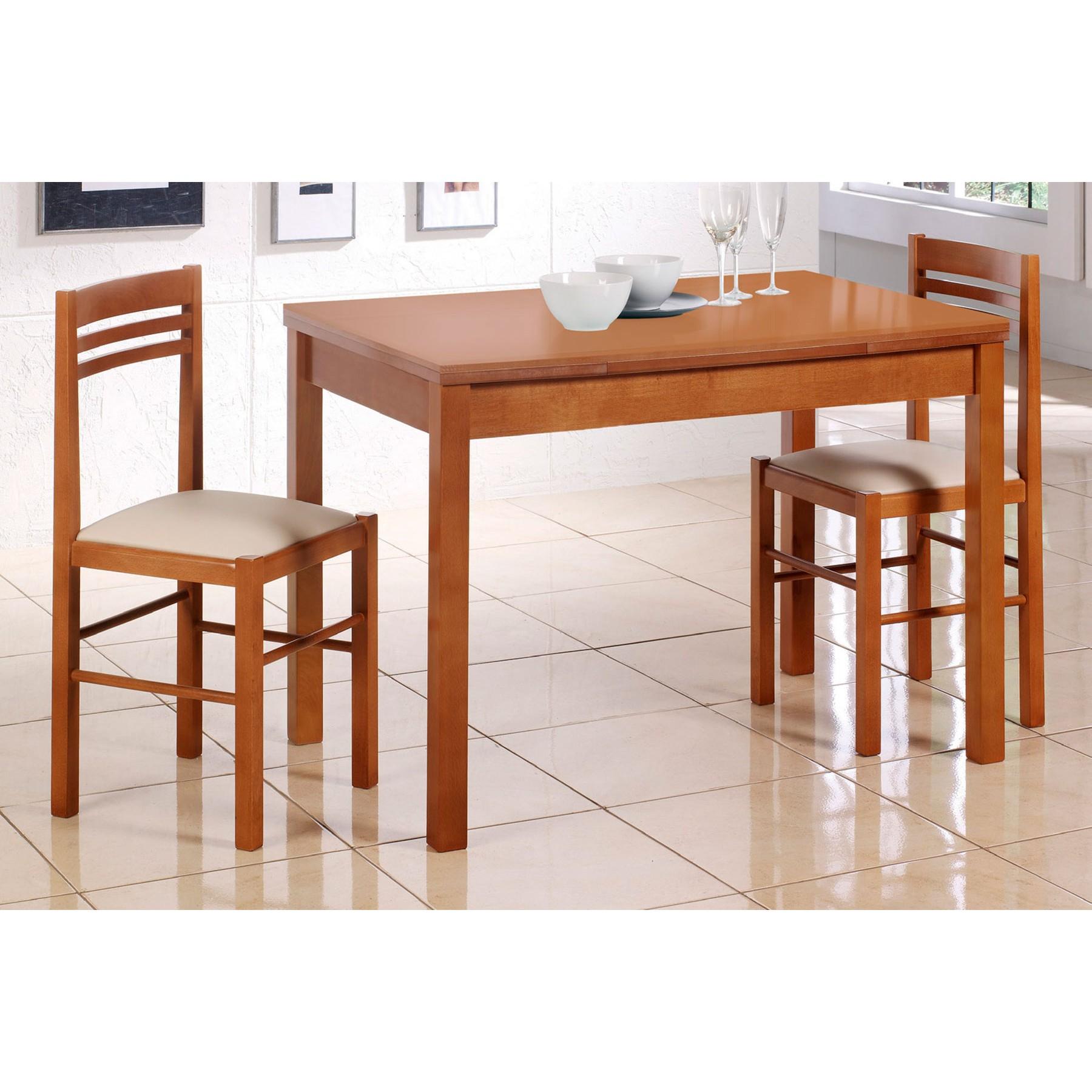 Mesa de cocina extensible en madera de cristal modelo naranja - Mesas para cocina extensibles ...