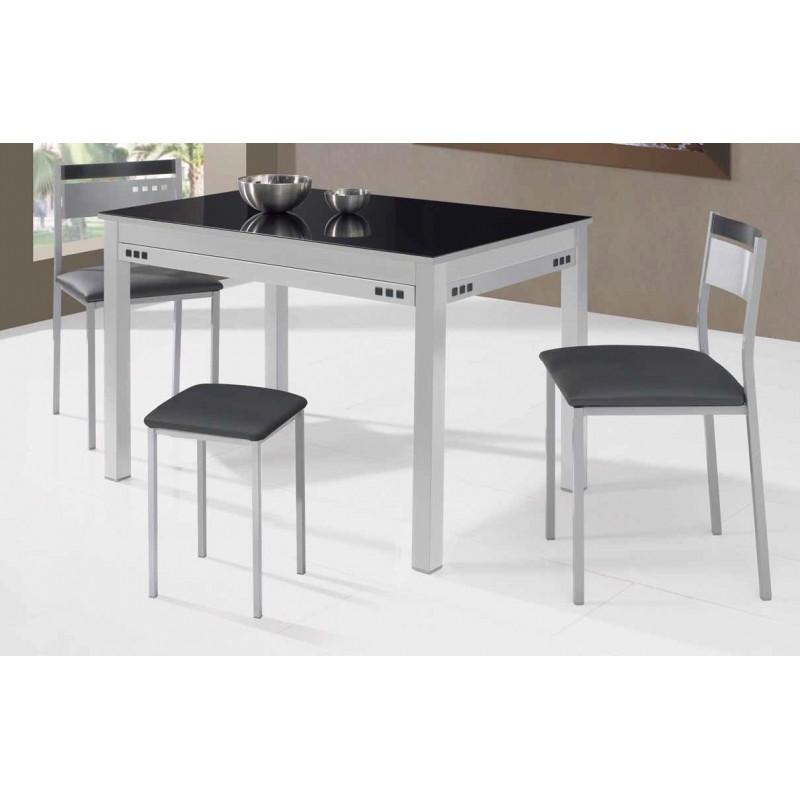 Conjunto de mesa sillas y taburete de cocina negros for Mesas extensibles y sillas de cocina