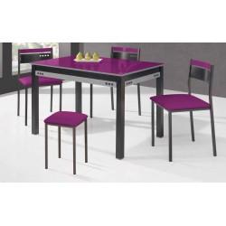 Conjunto de mesa extensible, sillas y taburete de cocina modelo Frambuesa