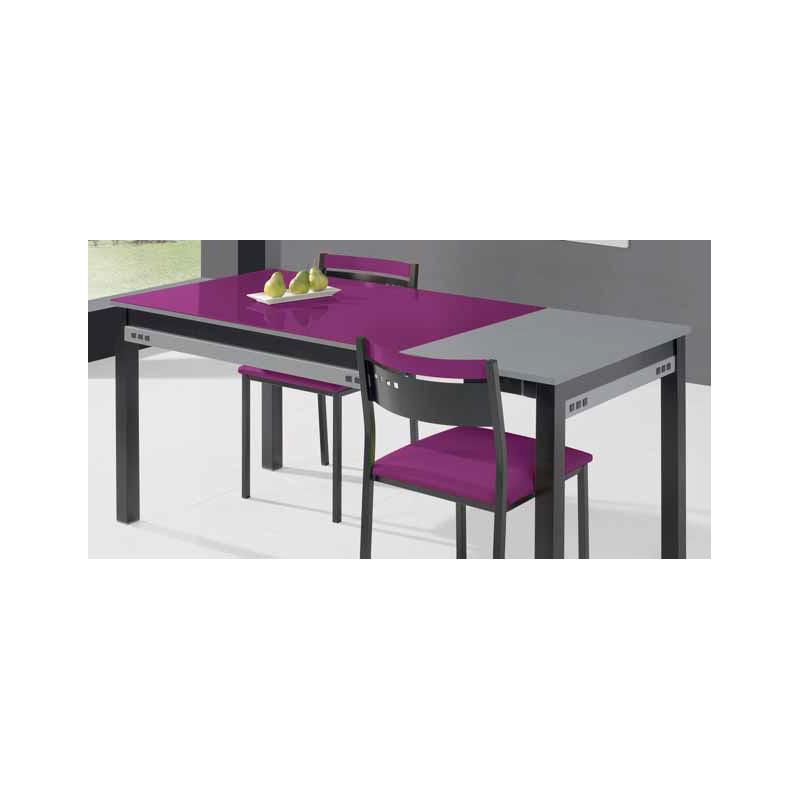 Conjunto de mesa extensible sillas y taburete de cocina for Mesa extensible con sillas