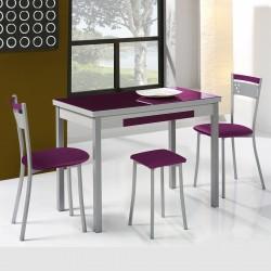 Conjunto de mesa extensible alas, sillas y taburetes de cocina modelo A