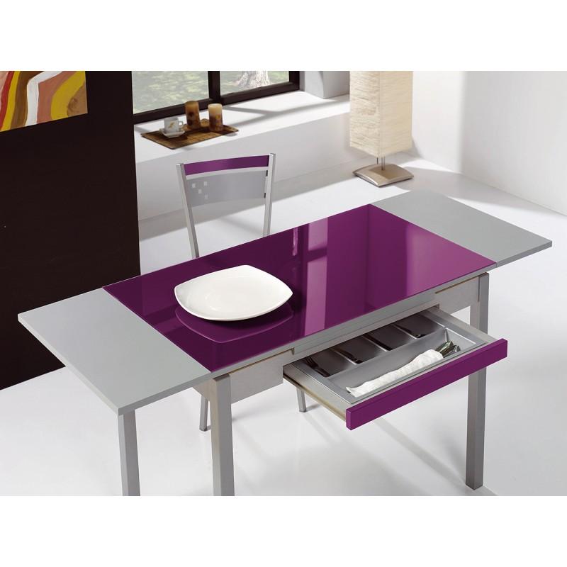Conjunto de mesa extensible alas sillas y taburetes de for Mesas para cocina extensibles