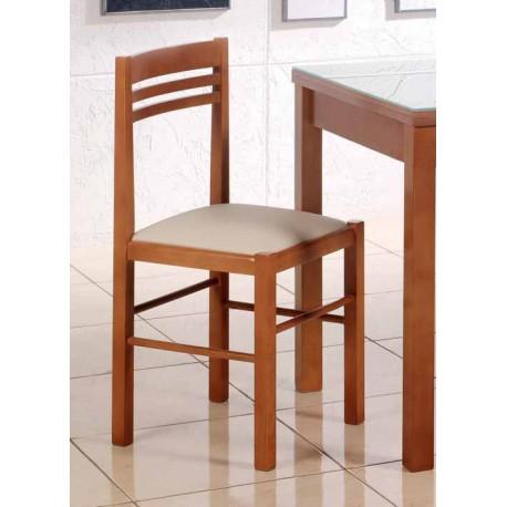 Silla de cocina y comedor en madera tapizada modelo naranja for Modelos de sillas de madera para comedor