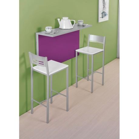 Conjunto de mesa de cocina de pared abatible y taburetes - Mesa cocina con taburetes ...