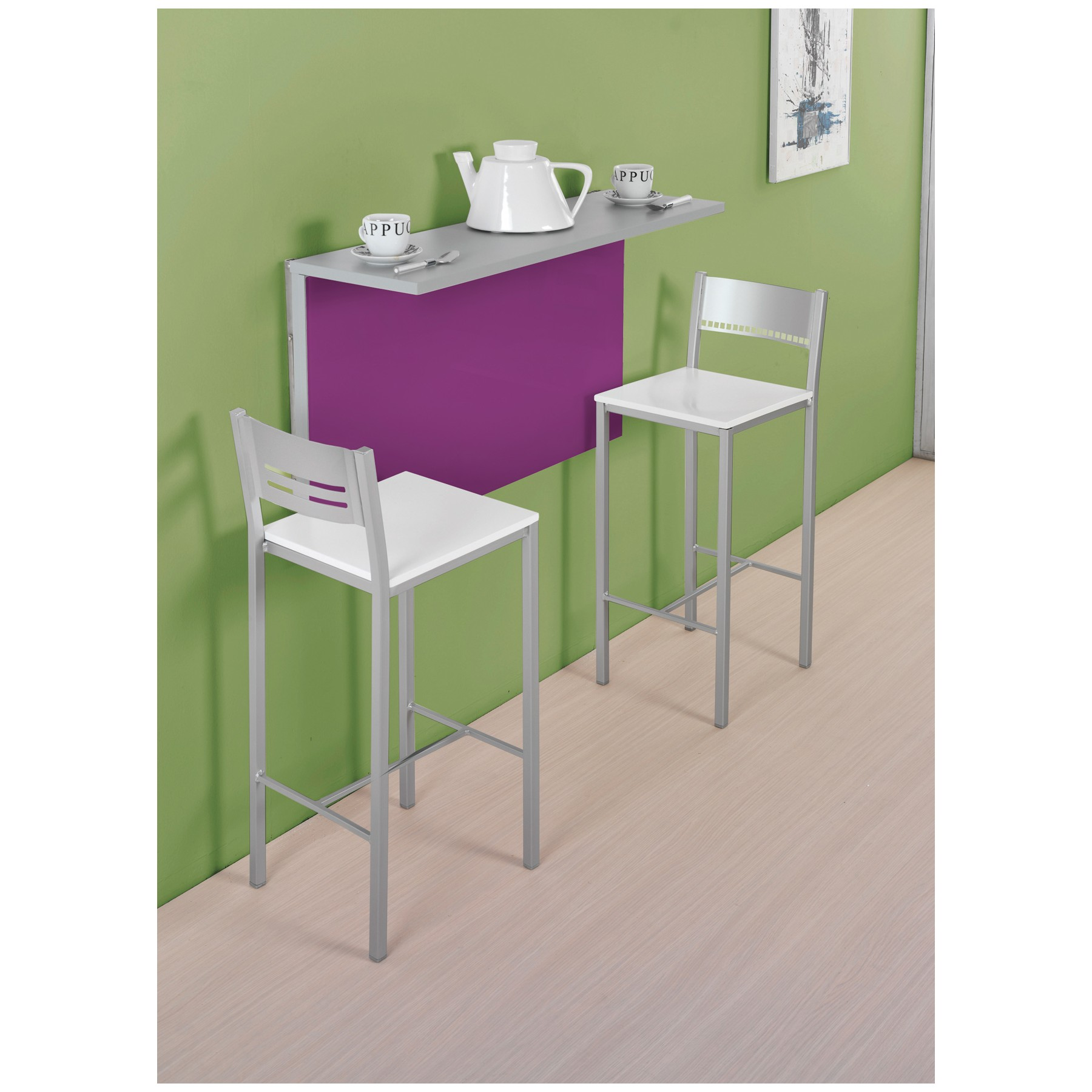 Conjunto de mesa de cocina de pared abatible y taburetes - Mesa abatible de pared carrefour ...