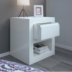 Mesita de noche lacada blanca con cajón modelo 8