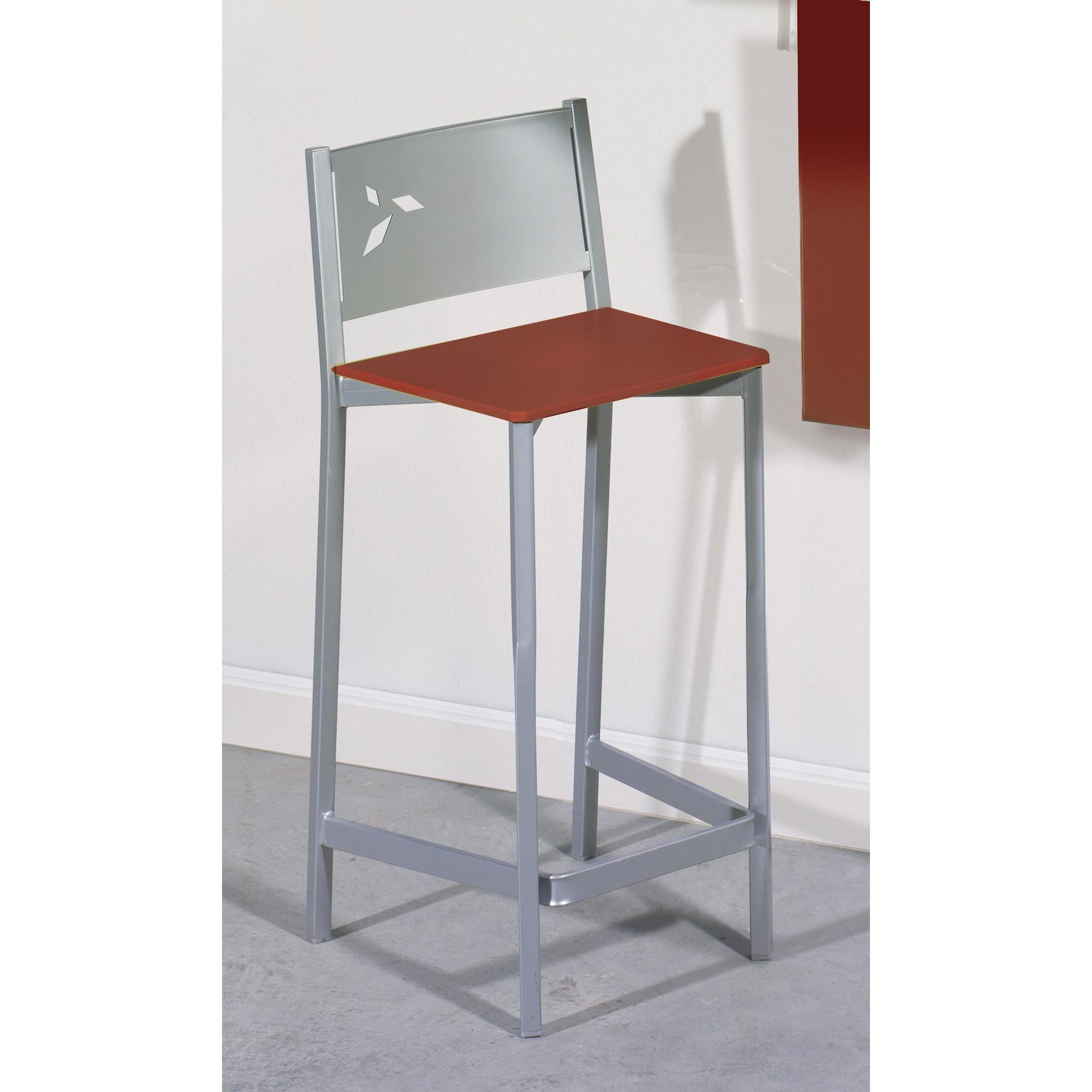 Taburete alto de cocina en aluminio y polipiel dkg for Taburete escalera cocina