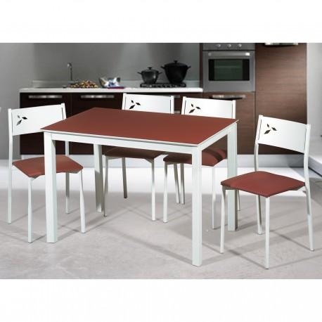 Oferta conjunto mesa y sillas de cocina blancas white for Conjunto mesa y sillas jardin oferta