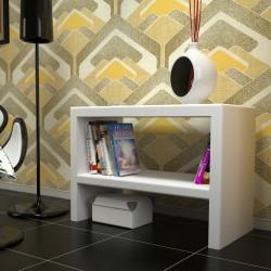 Mesa auxiliar lacada blanca con balda para rincón de lectura