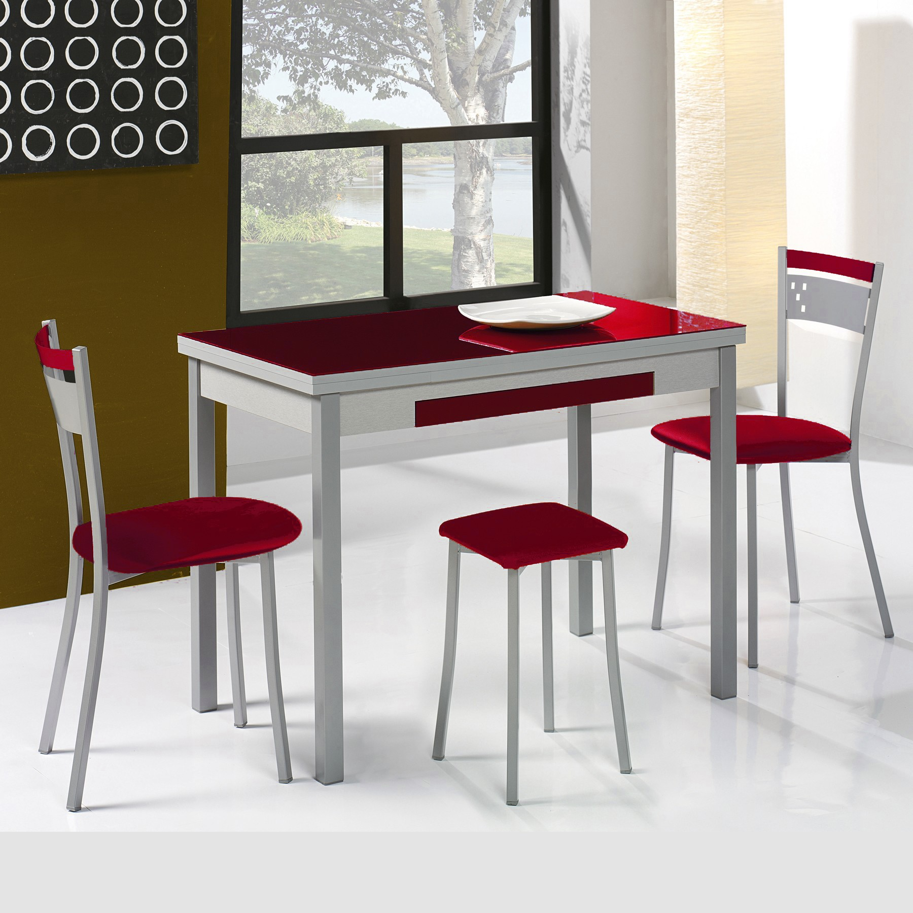 Conjunto de mesa extensible alas sillas y taburetes de for Taburetes de cocina baratos
