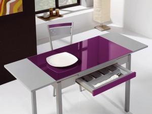Mesa de cocina extensible con alas laterales