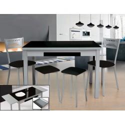 Pack oferta de mesa de cocina 100x60 Moon y 5 sillas en Negro
