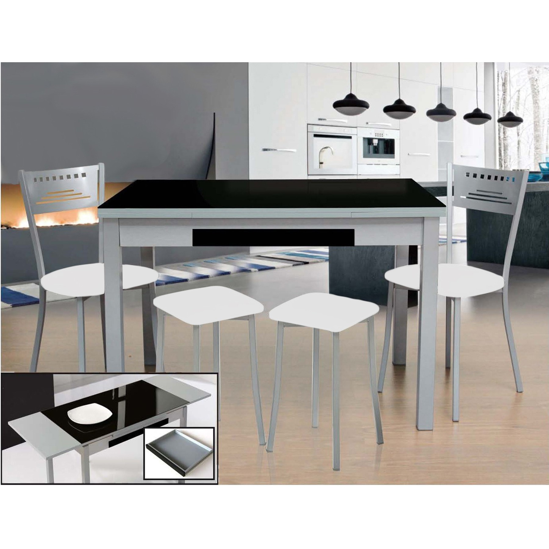 Pack oferta de mesa de cocina 100x60 extensible MOON y 5 sillas