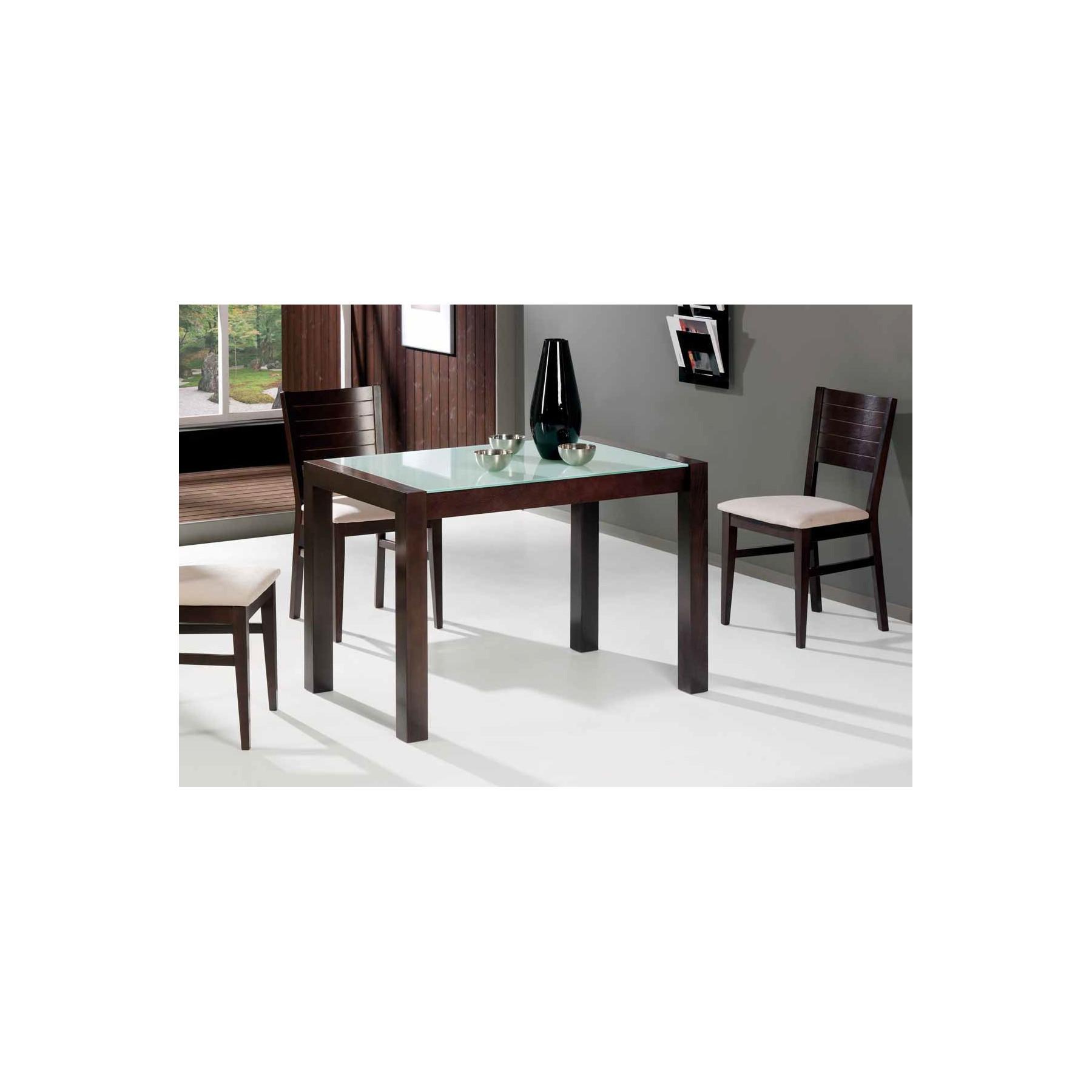 Mesa de cocina de madera extensible y cristal templado for Mesas de cocina extensibles