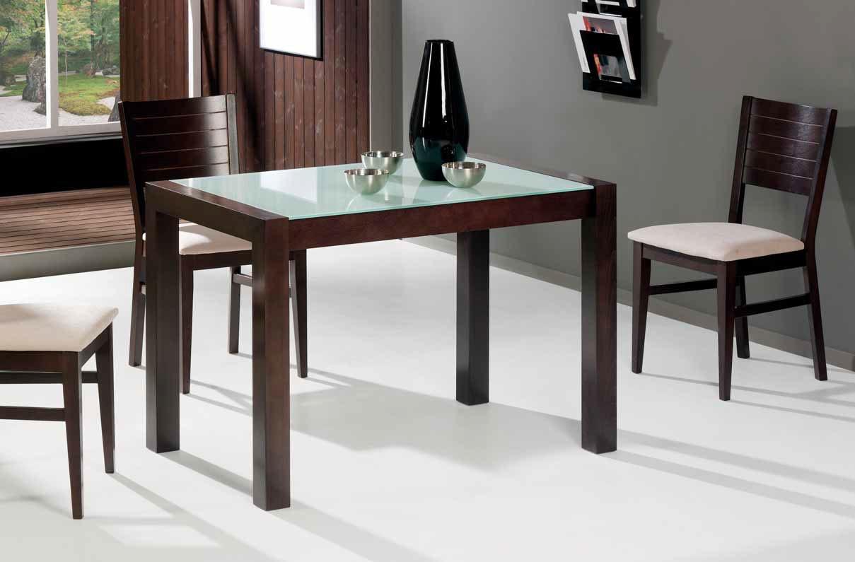 Mesa de cocina de madera extensible y cristal templado Aguacate