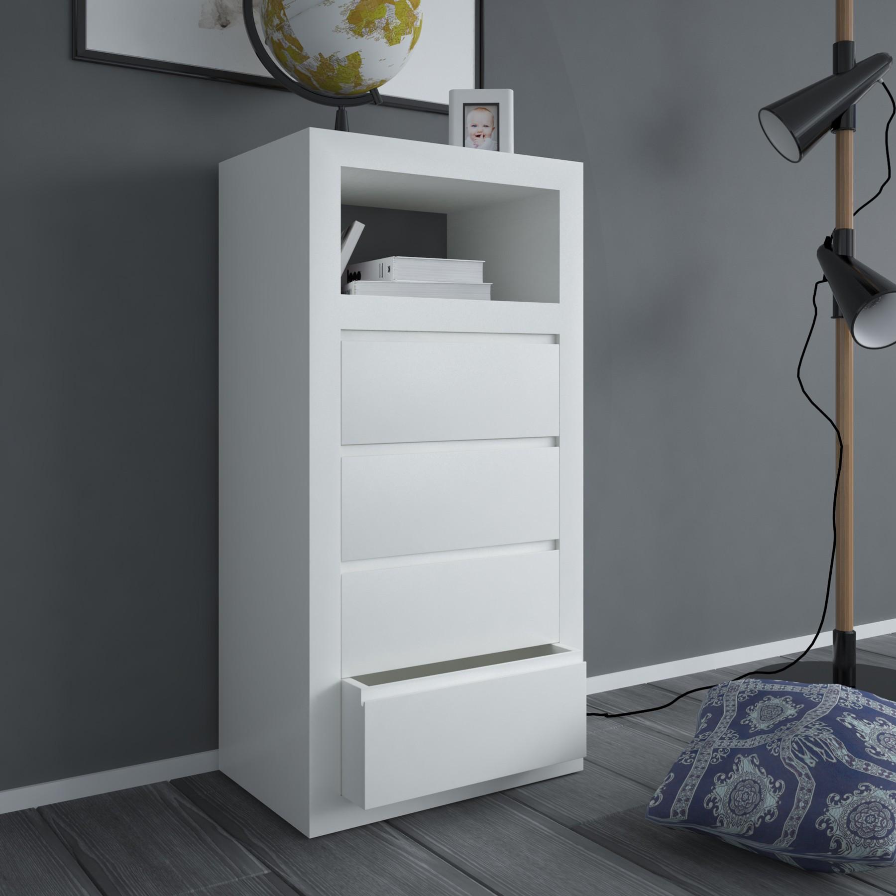 Sinfonier minimalista lacado blanco modelo 8 for Comodas modernas para dormitorio