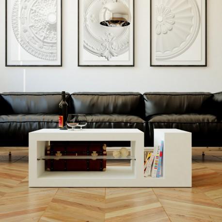 Mesa de centro para salón lacada blanca con balda de cristal mod. APOLO