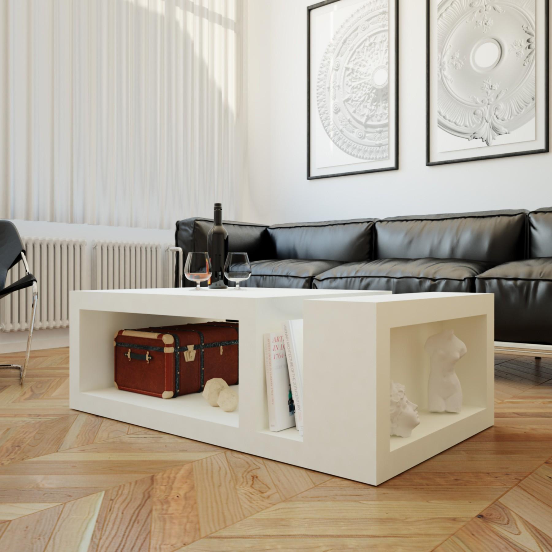 Mesa de centro para sal n lacada blanca apolo for Mesas para salon