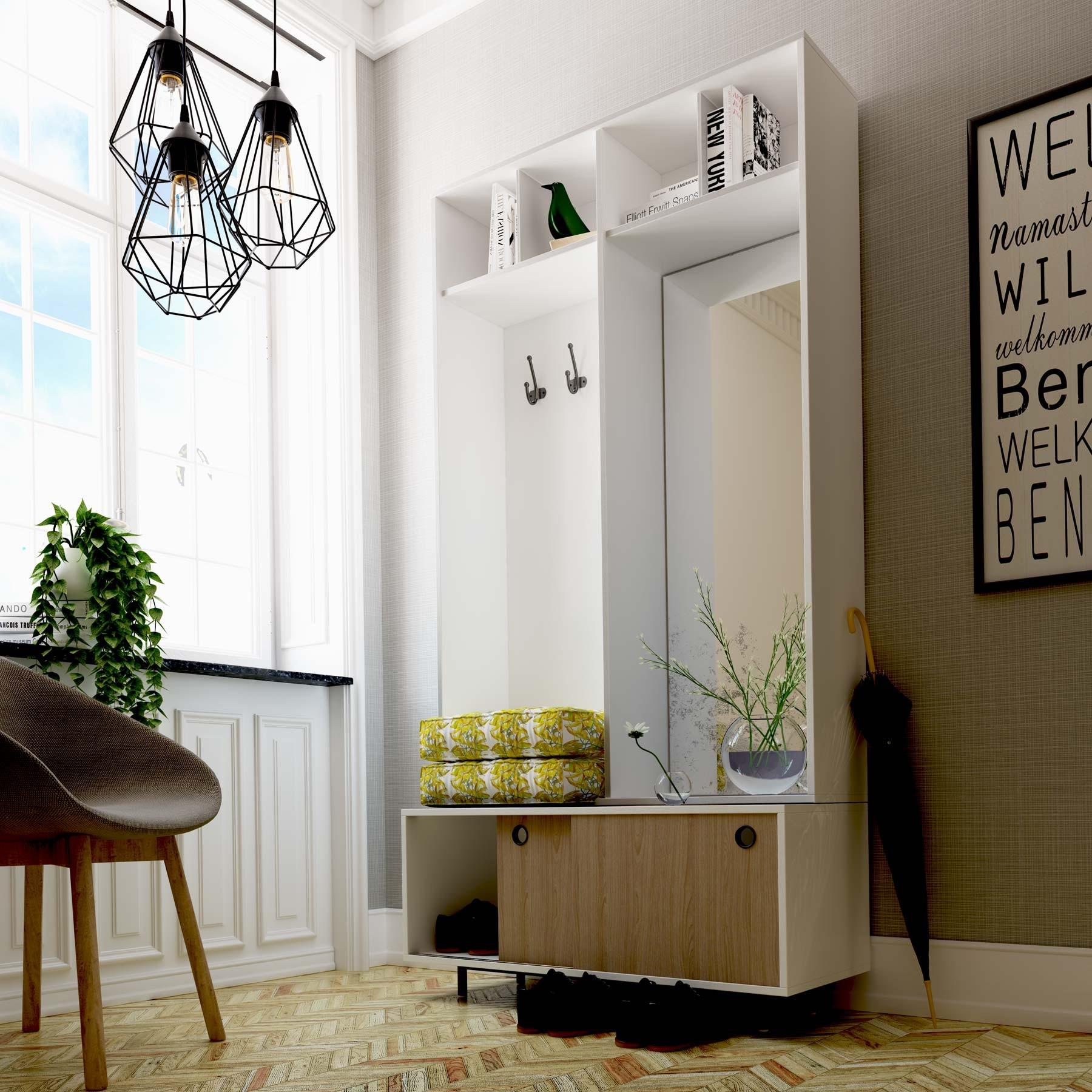 Mueble recibidor perchero lacado spring - Mueble de recibidor ...