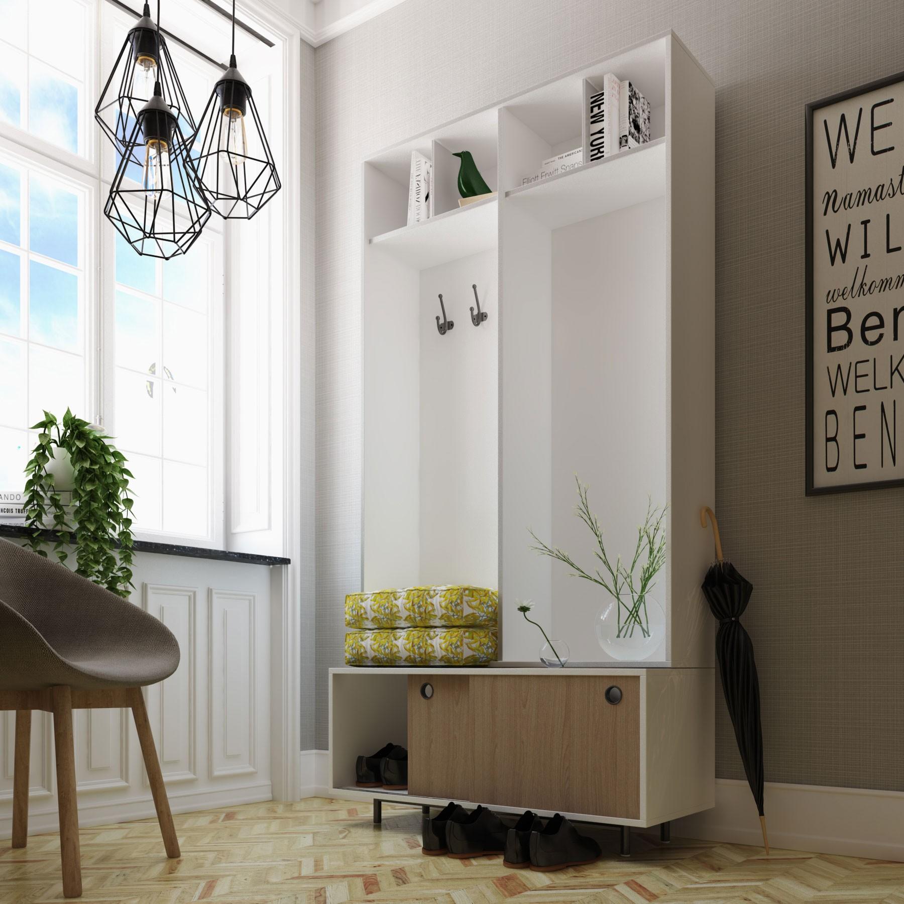 Mueble recibidor perchero lacado spring - Muebles para recibidor ...