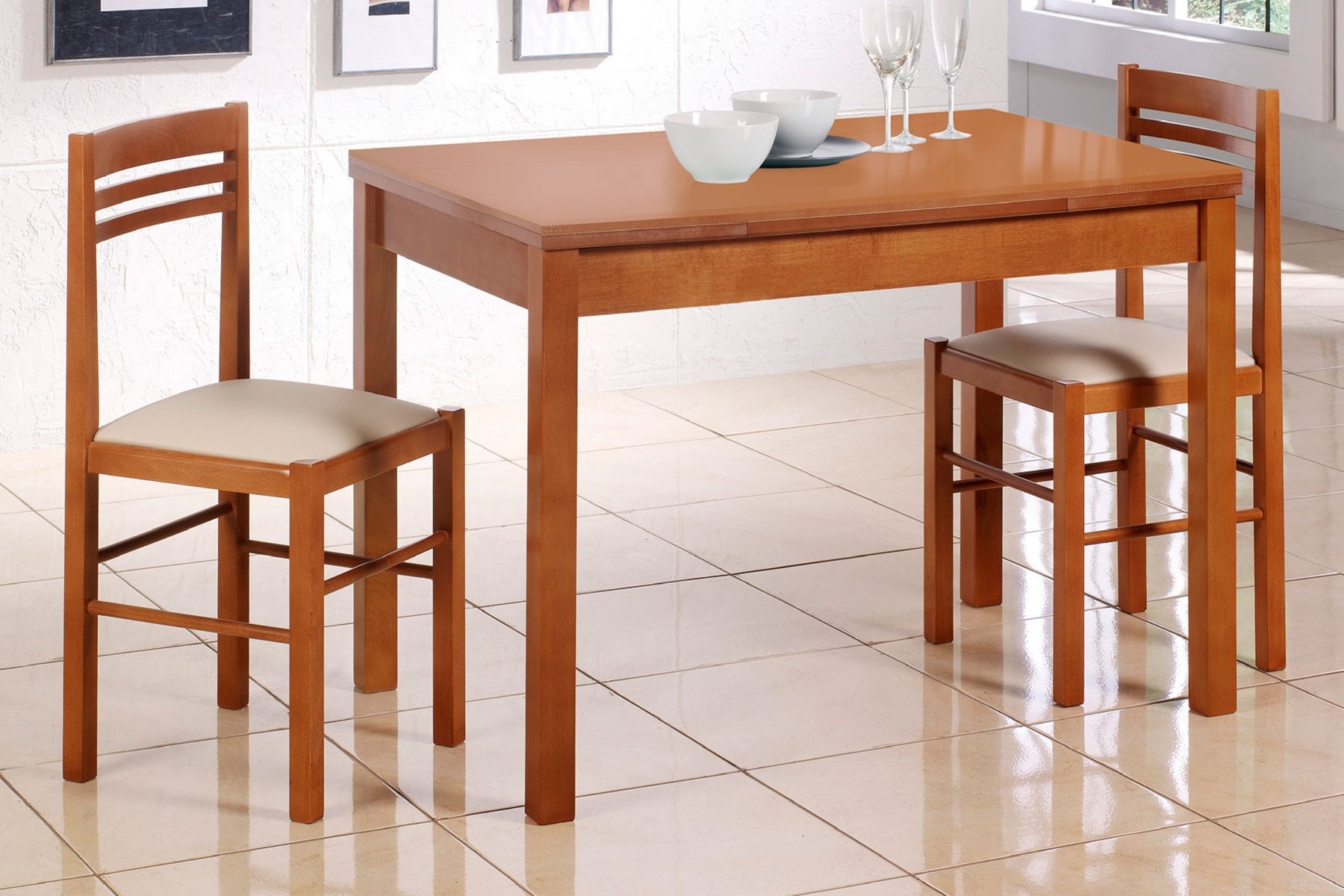 Mesa de cocina extensible en madera de cristal modelo Naranja