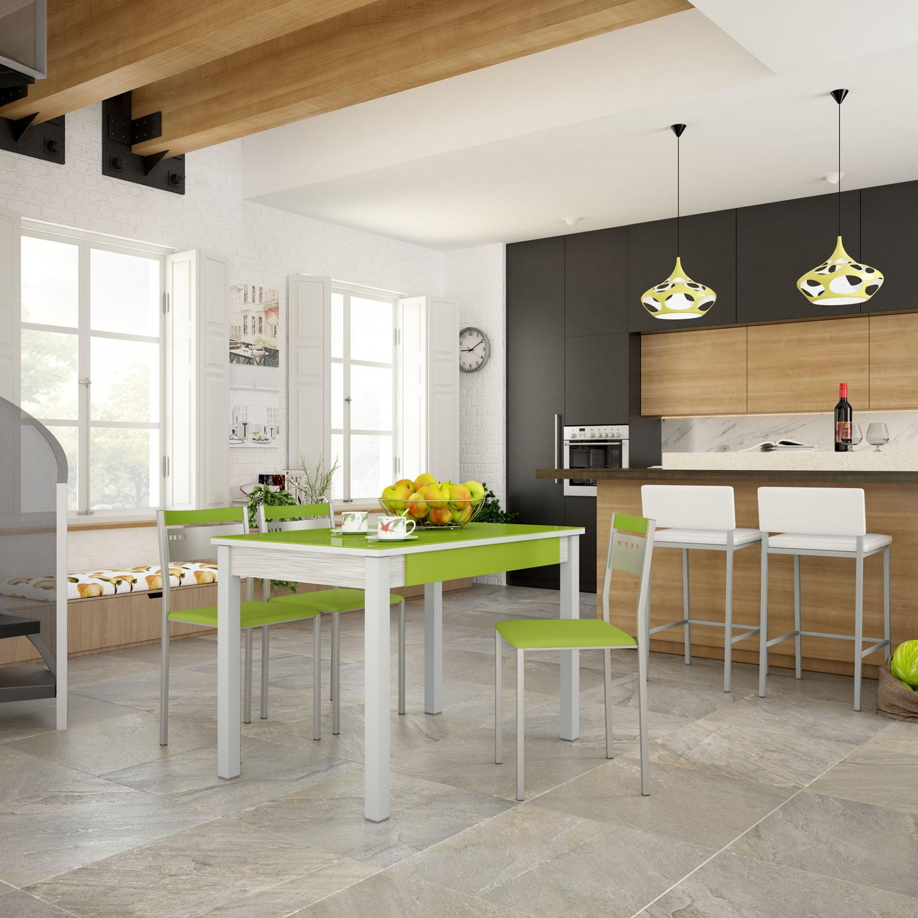 Conjunto de mesa fija y silla de cocina modelo green for Modelos de sillas de cocina