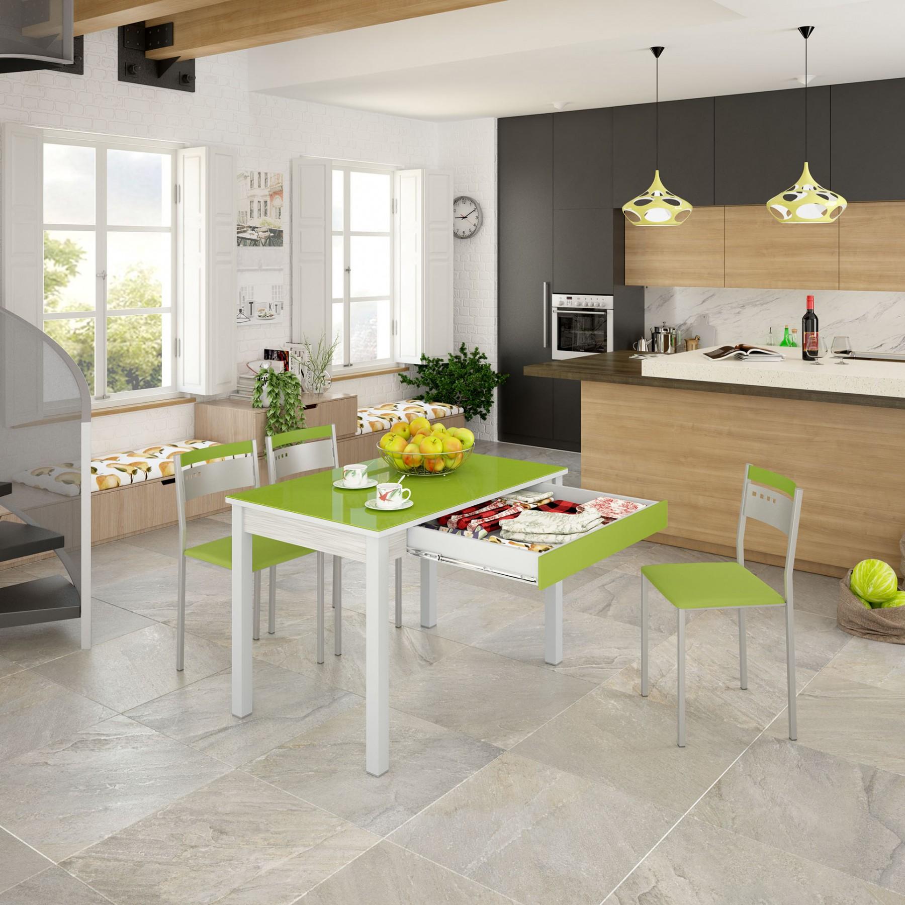 Mesa cocina fija con caj n modelo green for Mesas de cocina extensibles con cajon