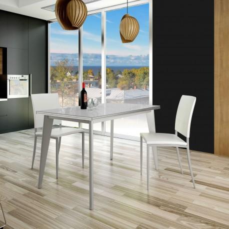 Mesa cocina fija aluminio y cristal modelo Aluminum