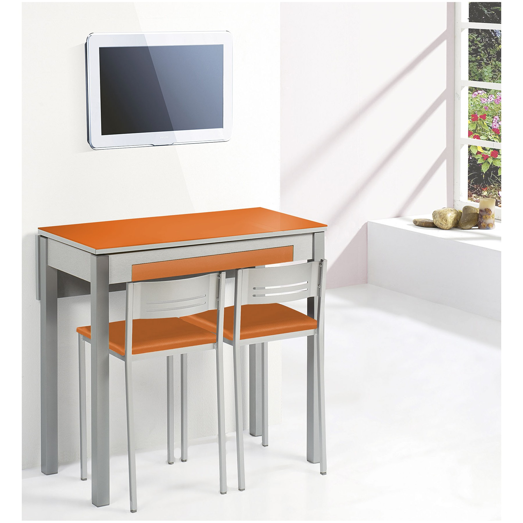 Conjunto mesa cocina y sillas taburete ala extensible for Mesas para cocinas estrechas