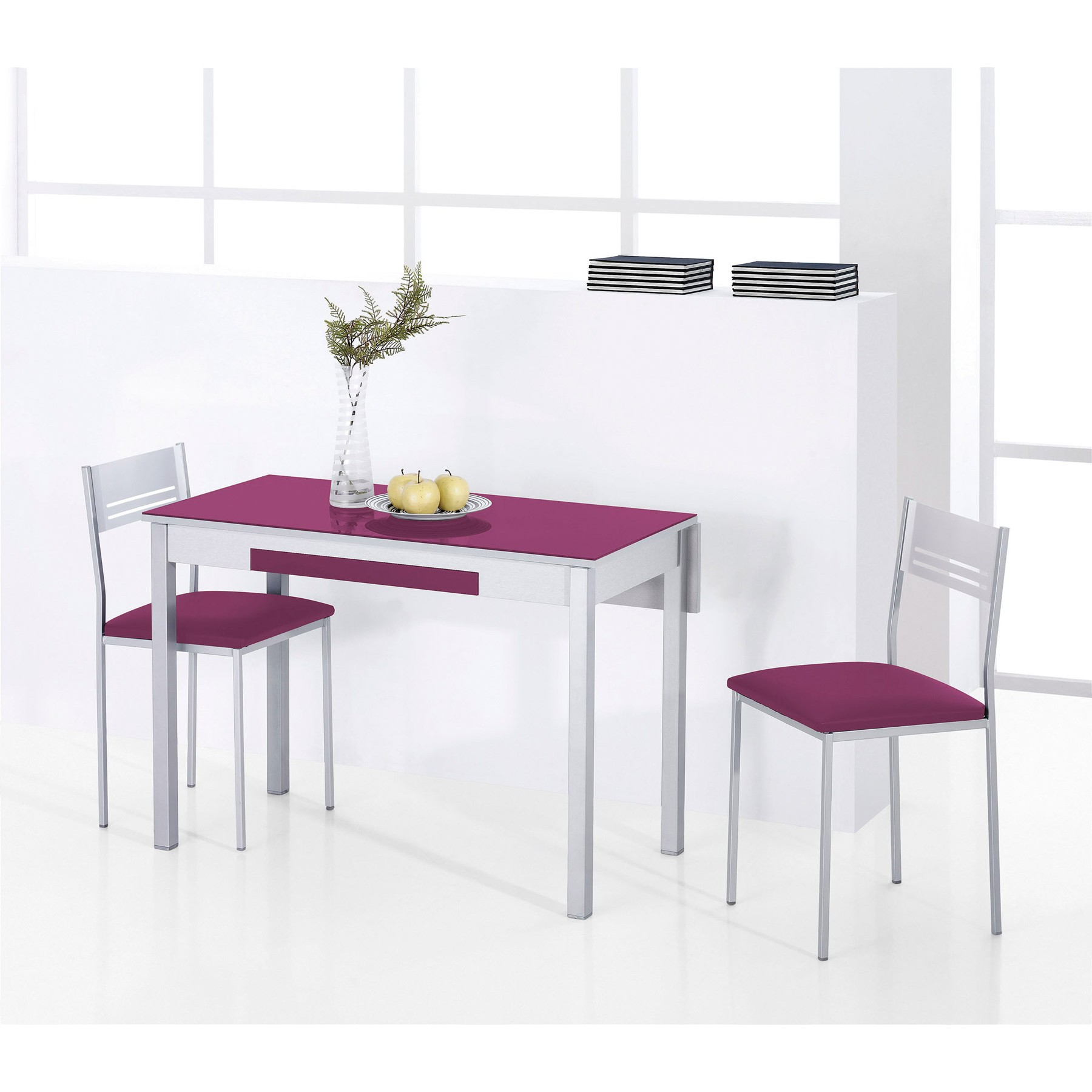 Conjunto mesa cocina y sillas taburete ala extensible for Mesa extensible con sillas