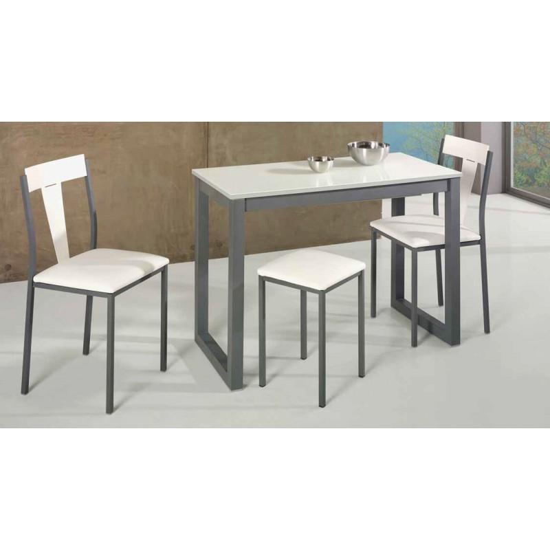 Conjunto de mesa extensible sillas y taburetes cocina y for Mesas para cocina comedor