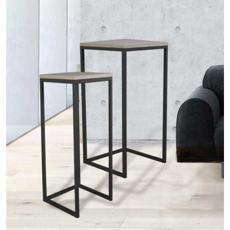 Juego mesas altas auxiliares dise o industrial modelo tavolino - Mesas tv diseno ...