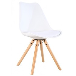 Pack 2 Sillas con asiento en polipiel y patas de madera modelo Tower
