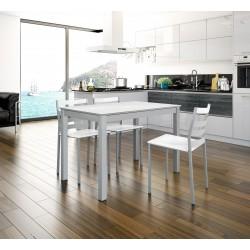 Conjunto mesa extensible doble y sillas de cocina Trastevere