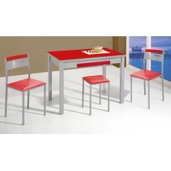 Conjunto de mesa, sillas y taburetes de cocina modelo Melocotón