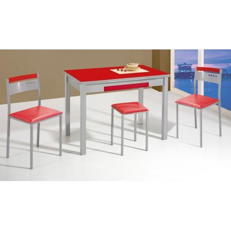 Conjunto de mesa sillas y taburetes de cocina melocot n for Conjunto mesa extensible y sillas cocina
