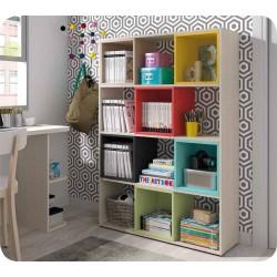 Estantería librero madera cubos de colores Shaba