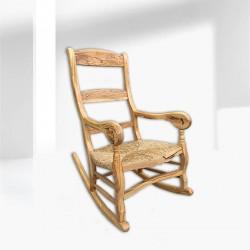 Mecedora artesanal en madera de olivo Bacaldur