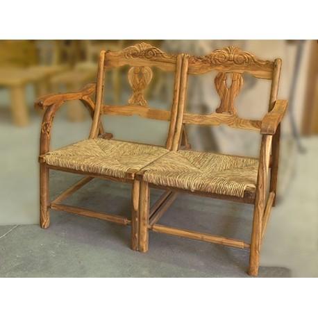 Sillón doble artesanal de diseño en madera de olivo Cebaro