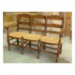 Tresillo con asiento de anea en madera de olivo Cesiru