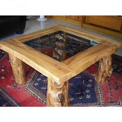 Mesa de centro rústica en madera de olivo Sigilo