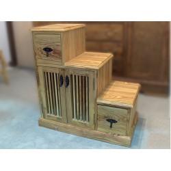 Mesa diseño escalera en madera de olivo modelo Tantalo