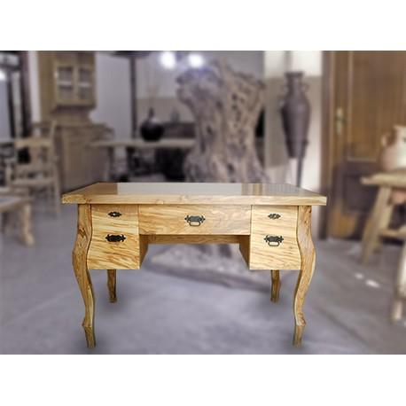 Mesa escritorio con cajones en madera de olivo Vecco