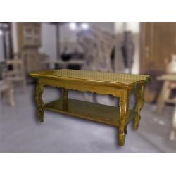 Mesa de centro con revistero en madera de olivo Vismaro