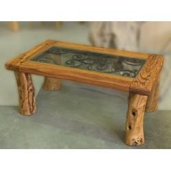 Mesa de centro con cristal y forja en madera de olivo Vecio