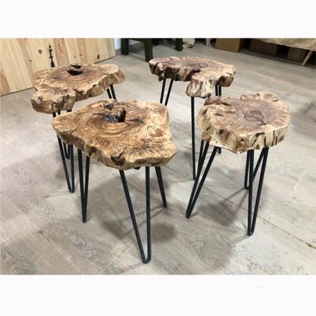 Taburete bajo en madera de olivo y forja Rodes