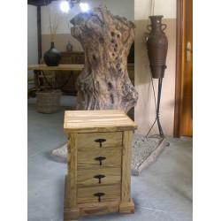 Mesita de noche en madera maciza de olivo Barkamo