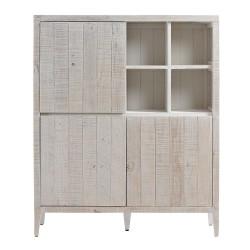 Aparador vitrina blanca en madera de pino Pekin